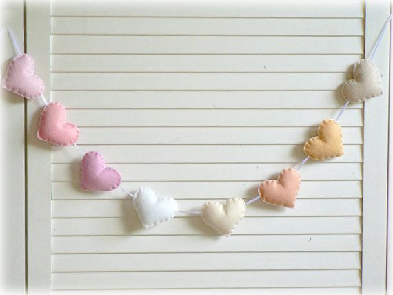 Spring Pastel felt heart garland by Lullaby Mobiles