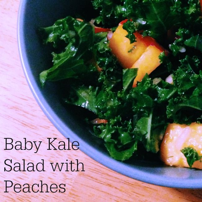 Baby Kale Salad with Peaches - Healthy and delicious recipe!