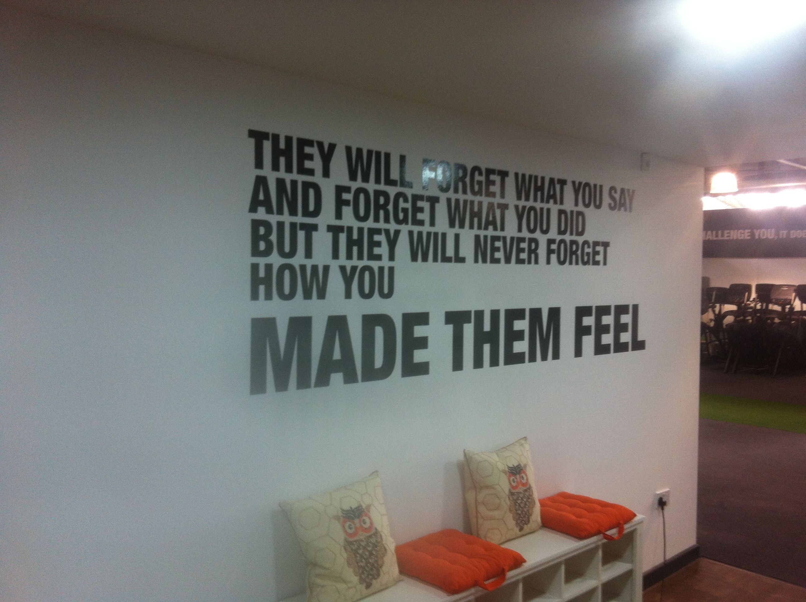 inspirational messages are brilliant. Here we Showcase inspiration with a fantastically applied wall graphic