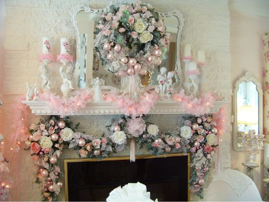(without the extra pink on the base of the mantel)  Share Photos : BHG Photo Contests:Shabby CHRISTmas Mantel