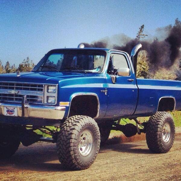 Blue Chevy 3 Roll That Coal Trucks Chevy Trucks Lifted Trucks
