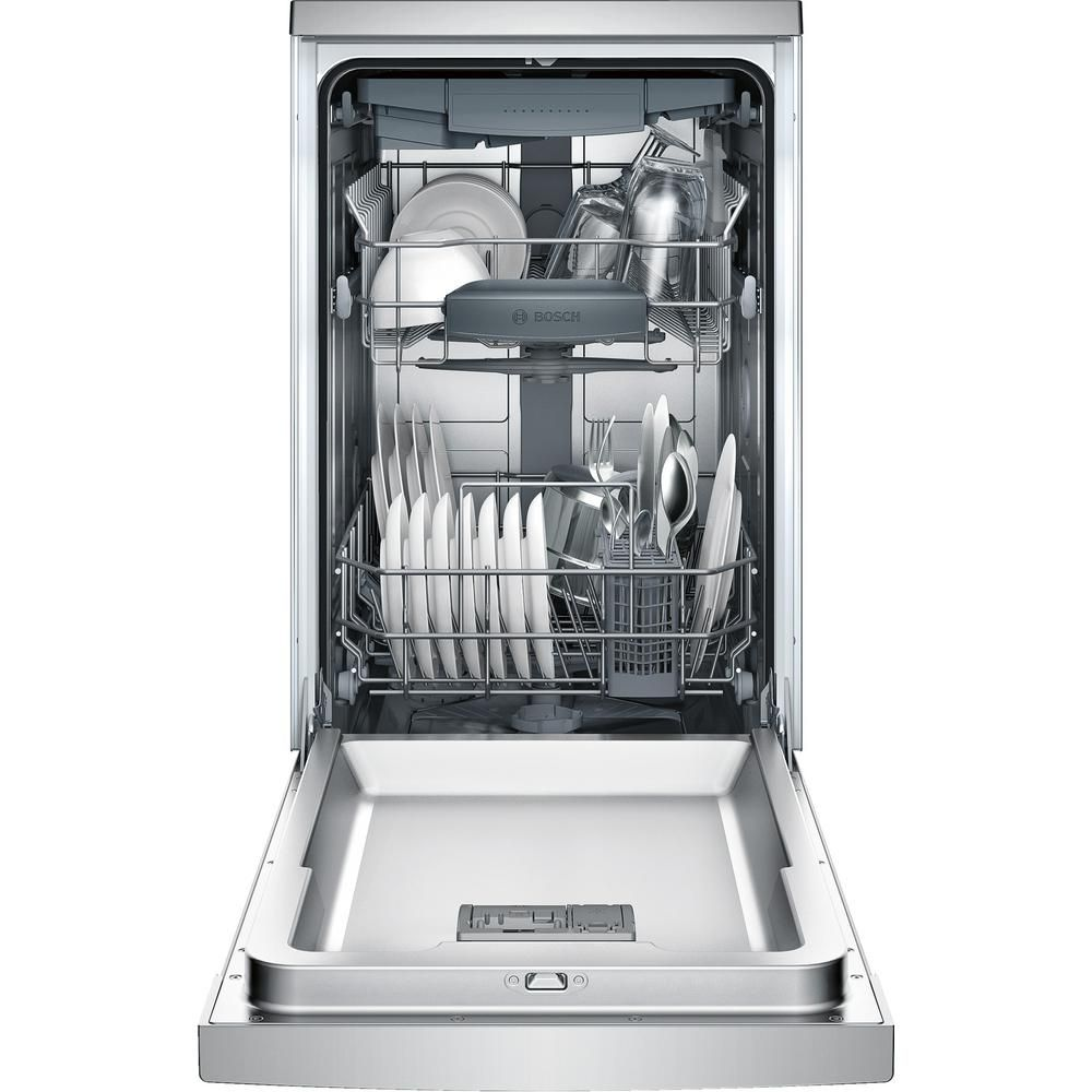 Bosch 800 Series 18 In Stainless Steel Ada Compact Front Control Dishwasher With Stainless Steel Tub And 3rd Rack 44dba Spe68u55uc The Home Depot Built In Dishwasher Steel Tub Integrated Dishwasher