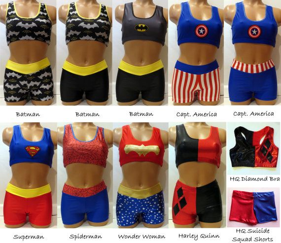 ea460e3fc8 You can get these sport bras and shorts in different super hero or comic  book related super heroes. IF YOU ARE ORDERING THE SHORTS