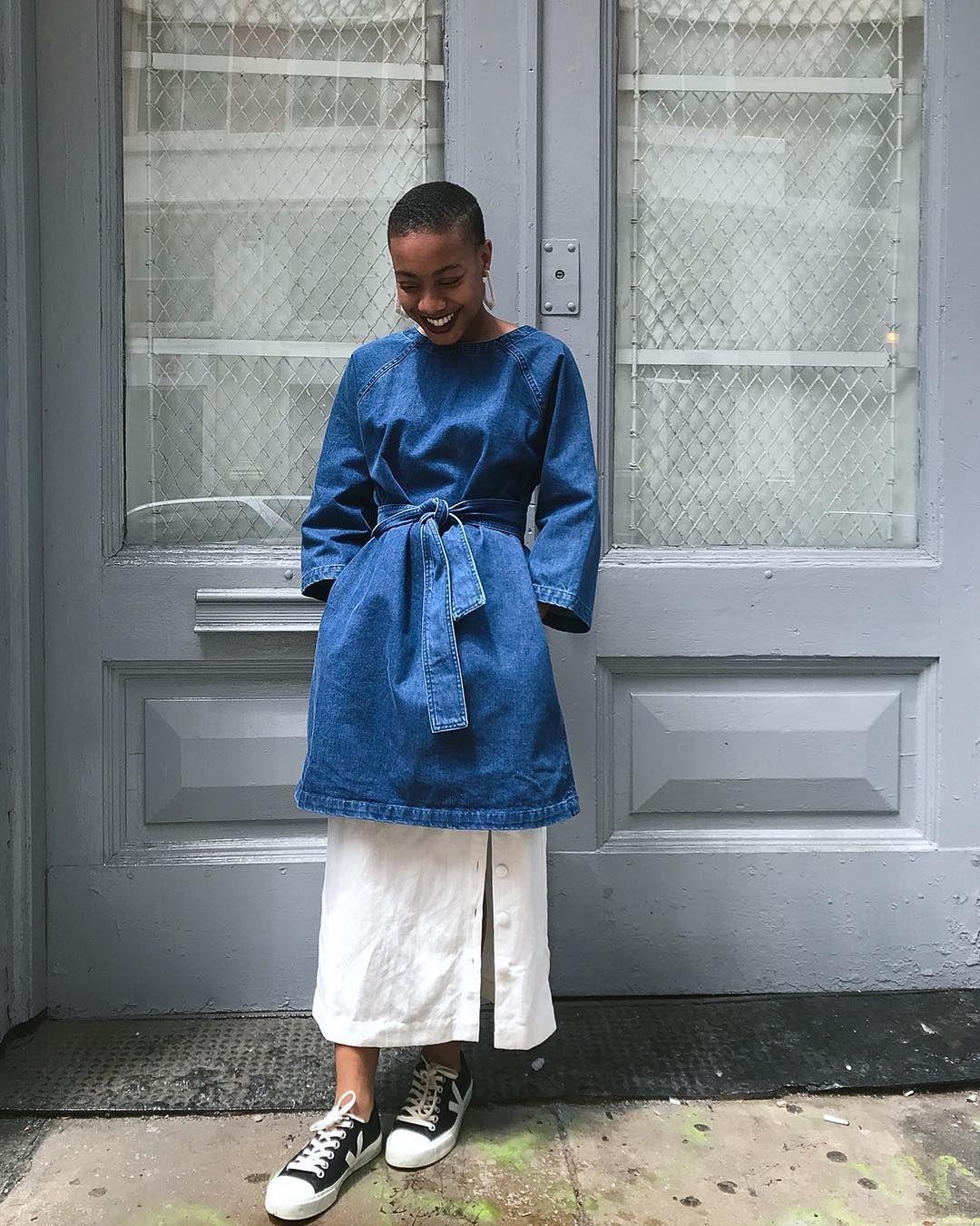 Shameekia in the Kowtow Technique Denim Dress and Veja Wata