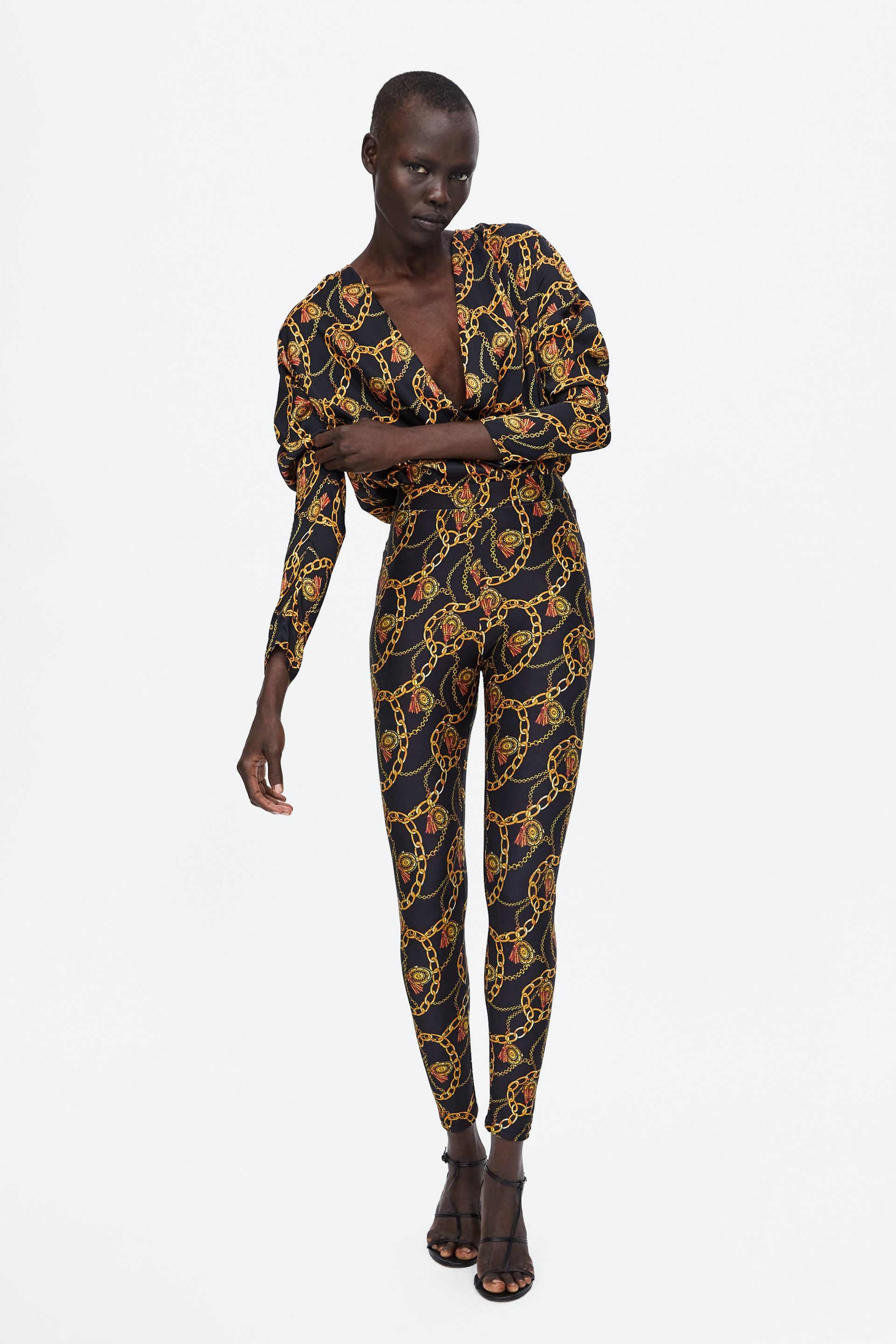 a692b2e7c3 LEGGING ESTAMPADO CADENAS | Zara fashion | Printed leggings, Versace ...