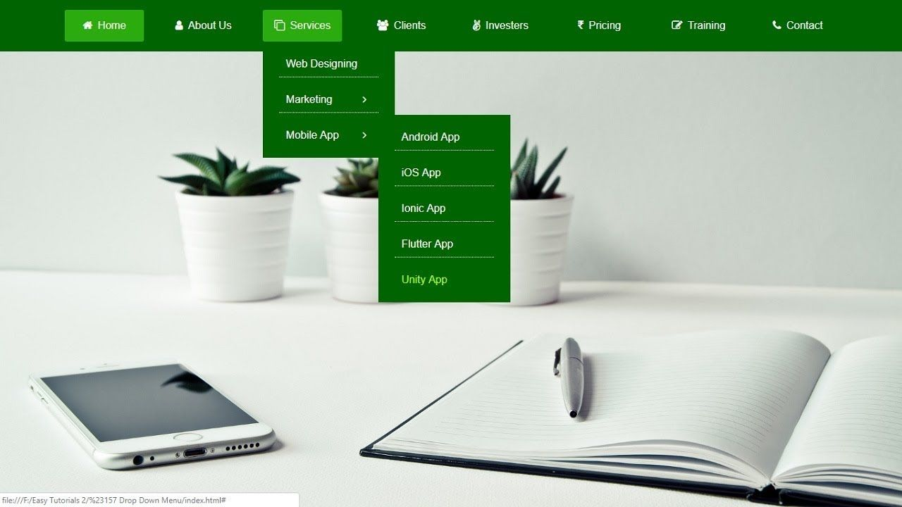 How to make drop down menu using html and css html