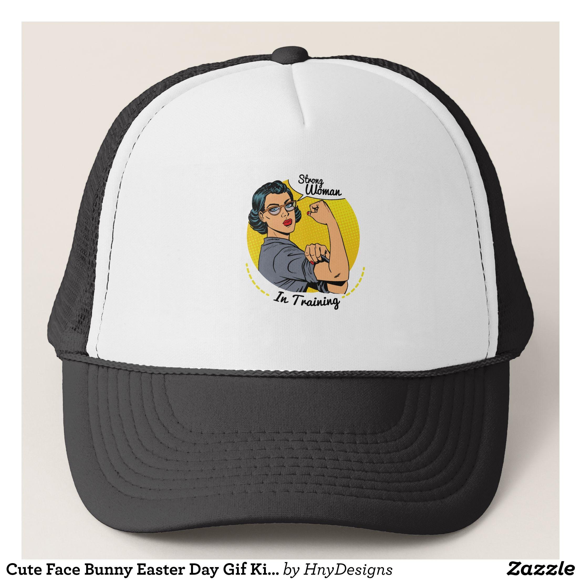 6214a387969 Cute Face Bunny Easter Day Gif Kids Boy Men Trucker Hat