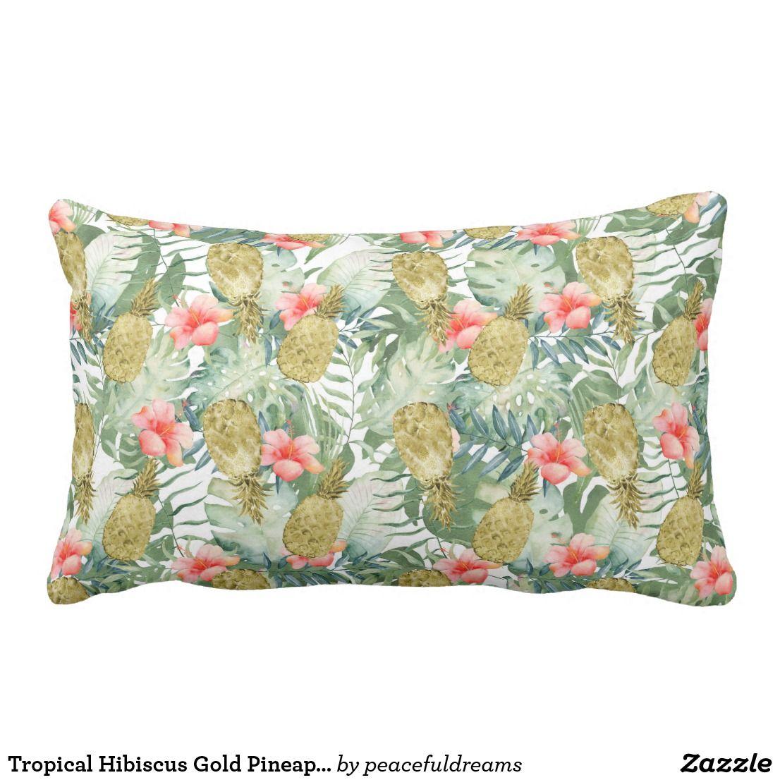 Tropical Hibiscus Gold Pineapples Floral Lumbar Pillow