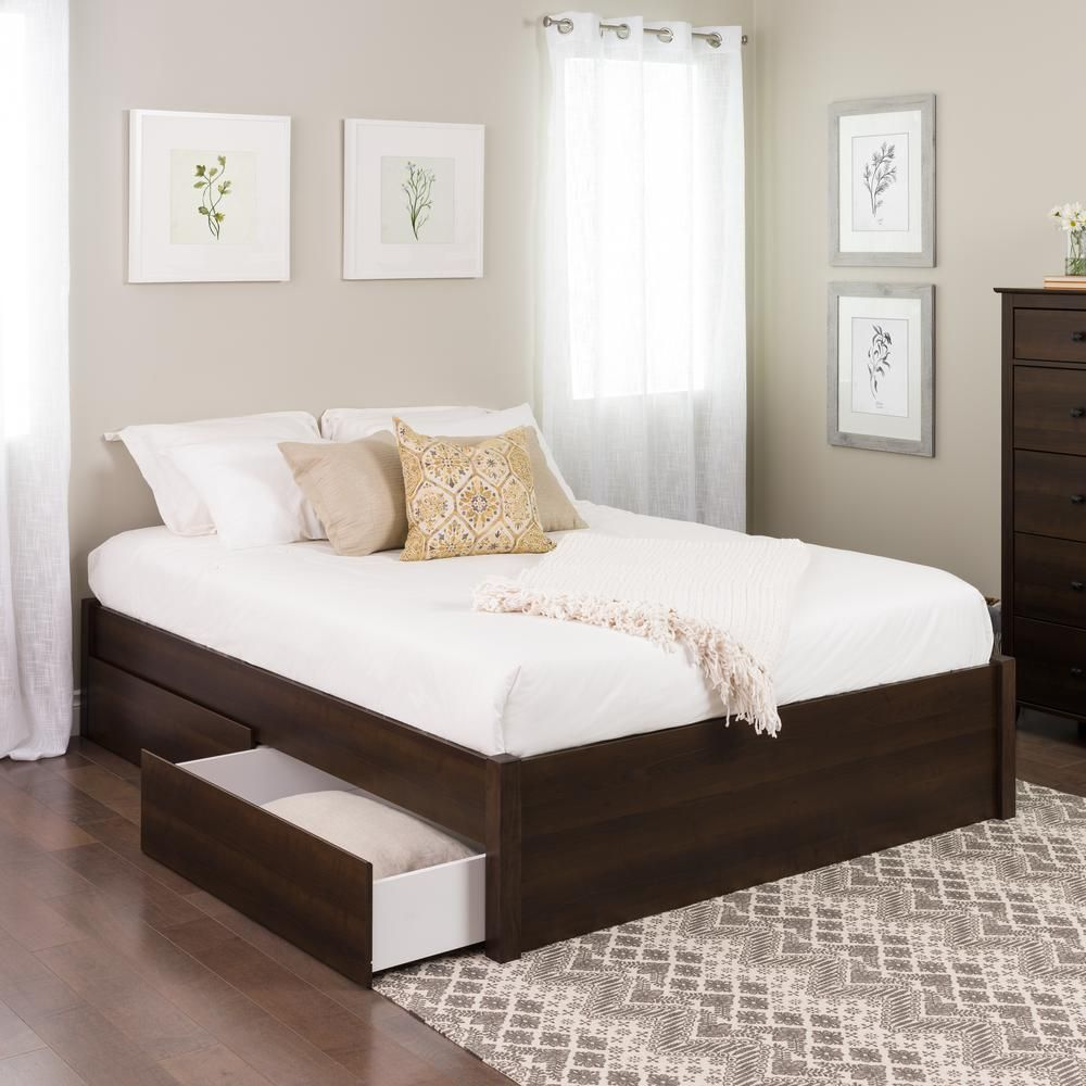 Prepac Select Espresso Queen 4 Post Platform Bed With 4 Drawers