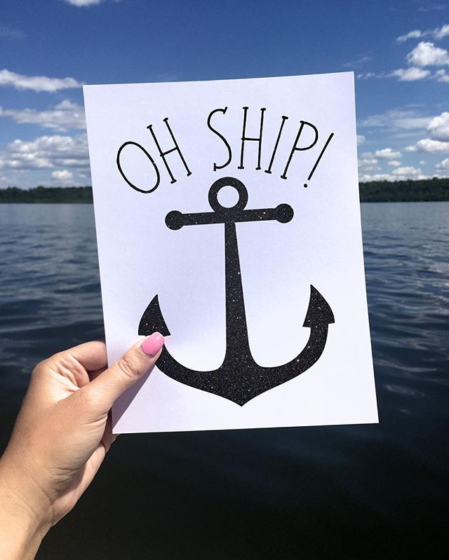 Oh Ship Digital 8x10 Printable Poster Anchor Black Glitter Nautical