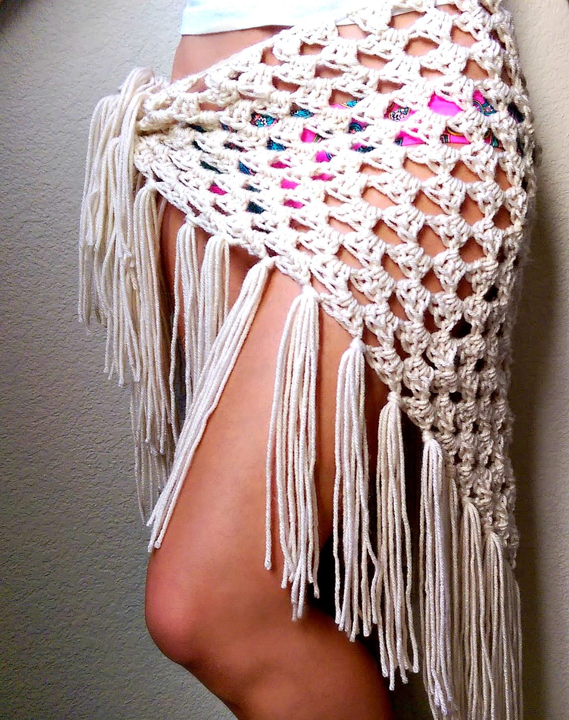 Crochet Sarong, Festival Clothing, Crocheted Fringe Scarf, Lacy ...