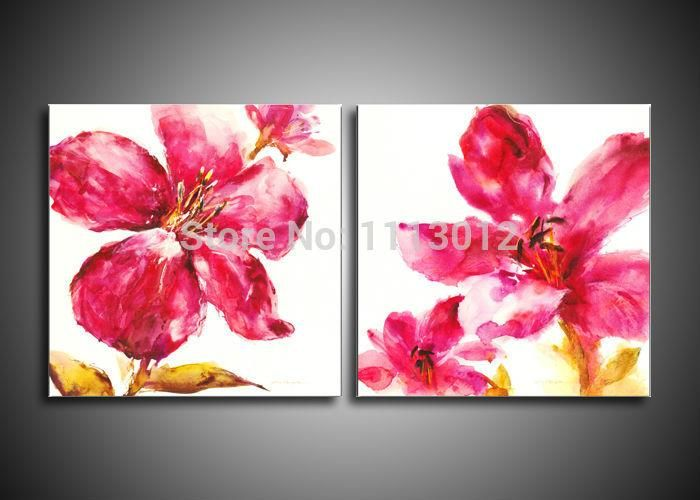 Spray Modern Abstract Decoration Oil Painting Red White Flower On ...