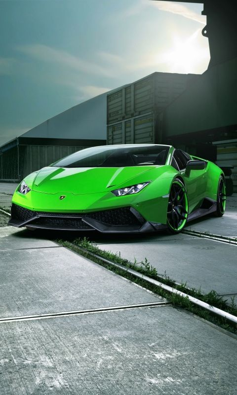 480x800 Wallpaper Lamborghini Huracan Spyder Green Front