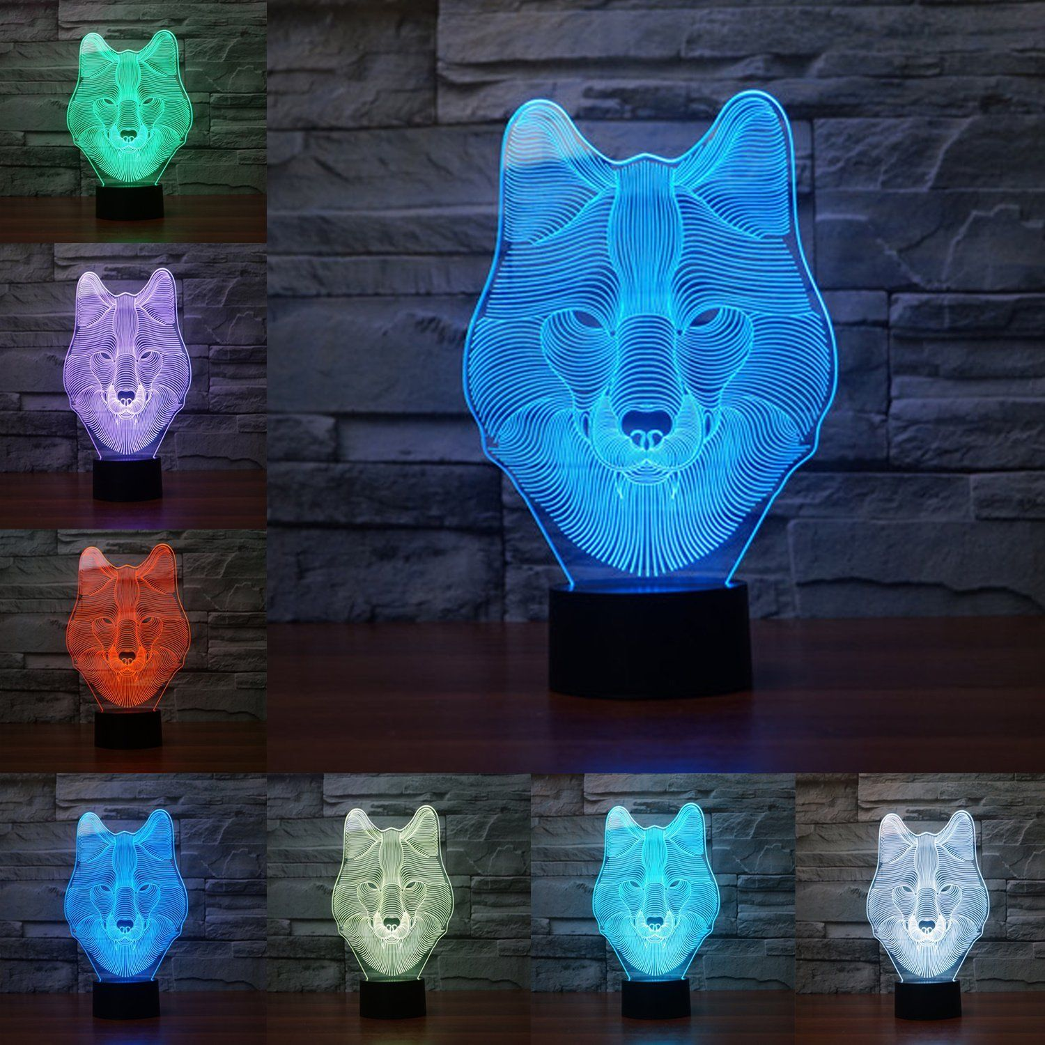 Emontek 3d Led Night Lamp Colorful Wolf Shape Magical 3d Illusion Lamp Kids Room Home Decoration Best Gift Touch Control Light 7 Colors What I Want Touch