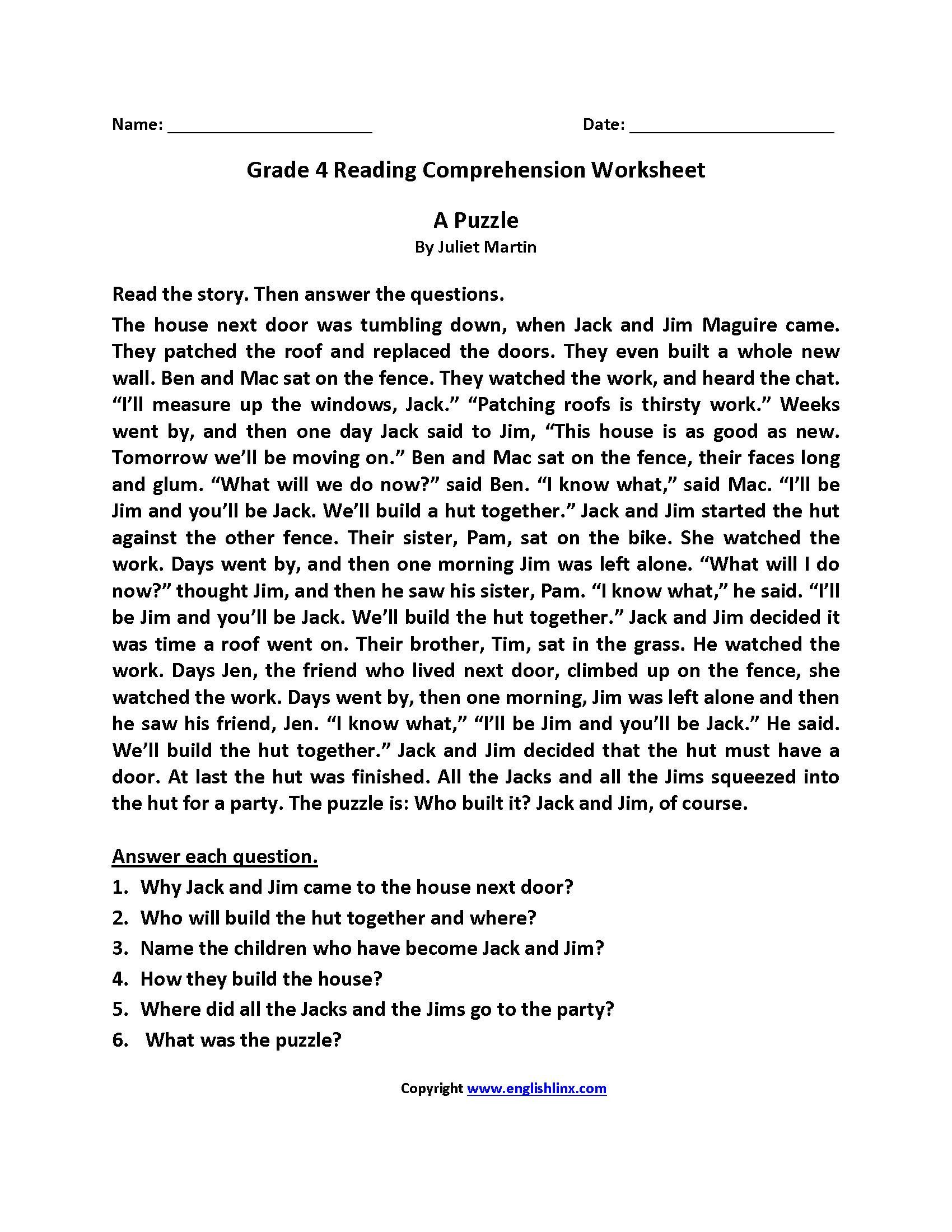 hight resolution of 4th Grade Reading Comprehension Worksheets Multiple Choice