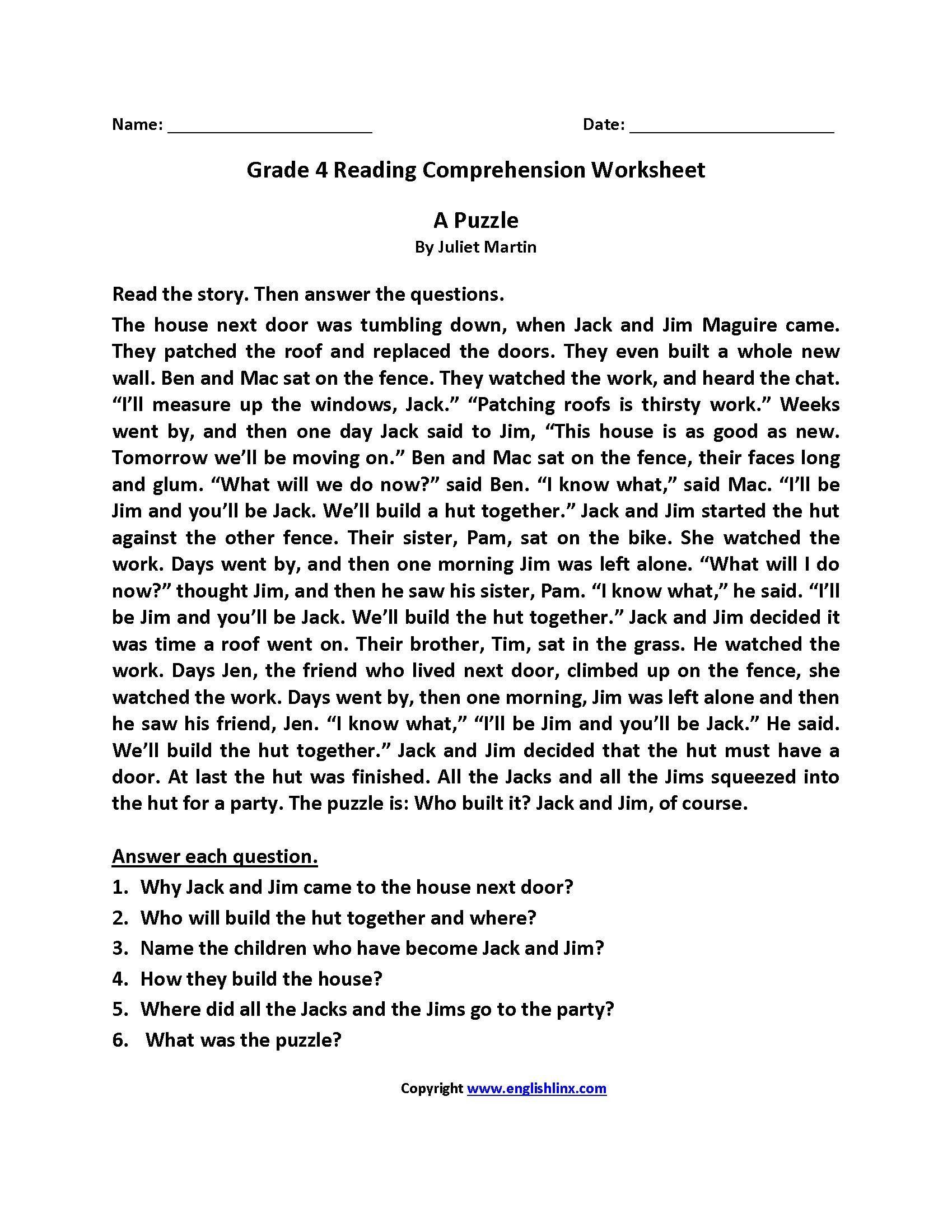 Comprehension Worksheets For Grade 5
