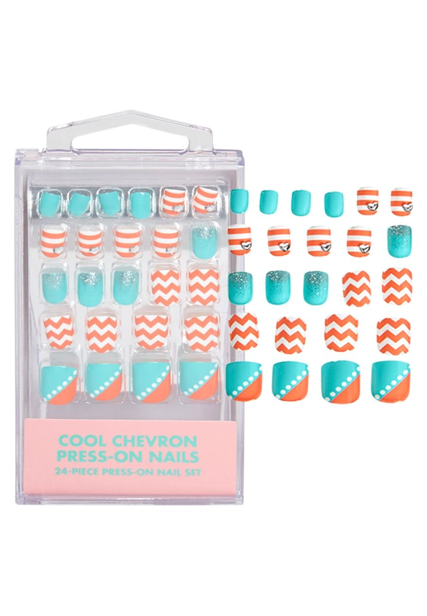 Cool Chevron Press On Nails | Nails | Pinterest | Justice clothing ...