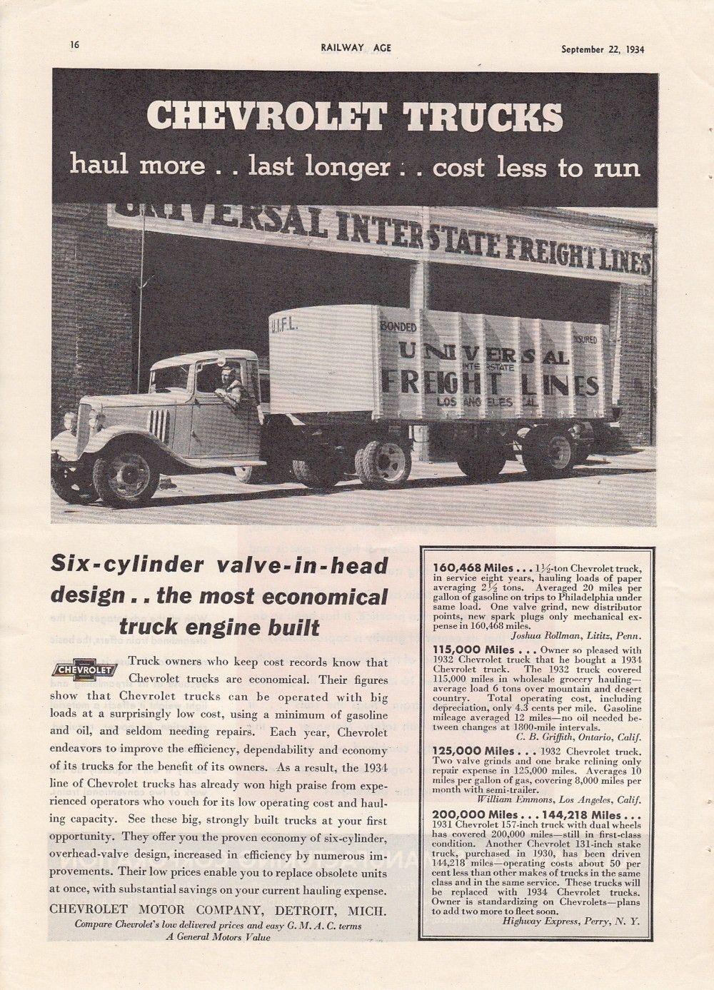 1934 Chevrolet Motor Co Ad Chevy Truck Universal Freight Lines Los Angeles Ca Ebay Chevy Trucks Chevrolet Trucks