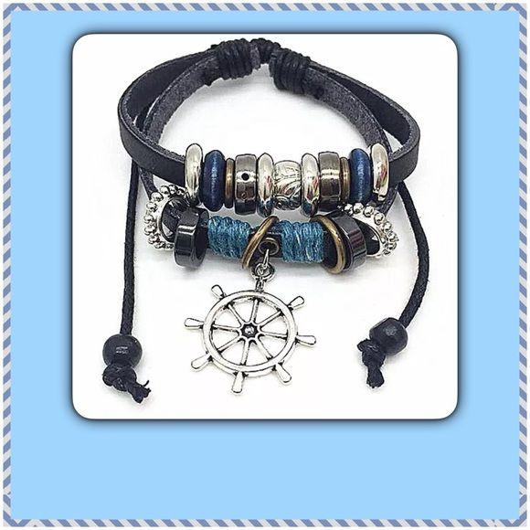 Leather & Rope Adjustable Bracelet ⚓️ Lovely Adjustable Leather and Beaded Nautical Bracelet NEW IN PACKAGE ⚓️ Jewelry Bracelets