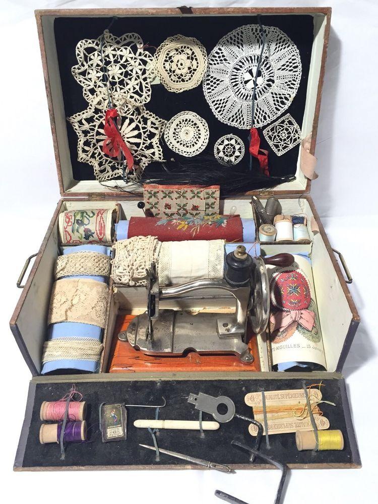 ancienne machine a coudre pour dinette ou poupee 19eme in. Black Bedroom Furniture Sets. Home Design Ideas