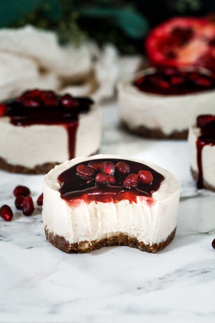 Vanilla Bean Pomegranate Mini Cheesecakes