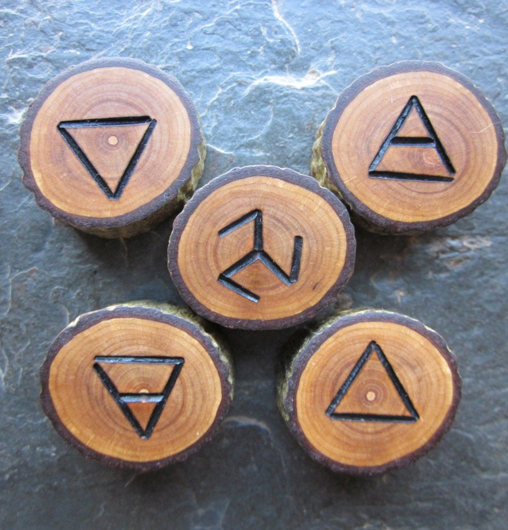 Wood Element Symbols - water, earth, air, fire,  spirit