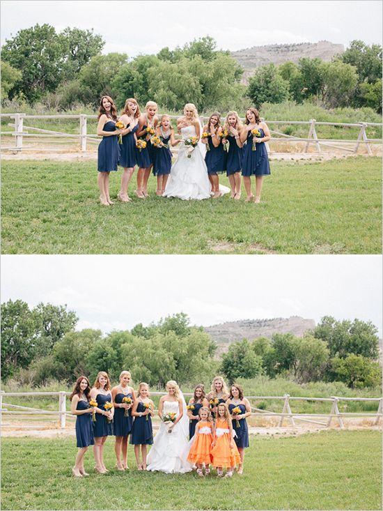 Orange and Navy Bridesmaid Dresses