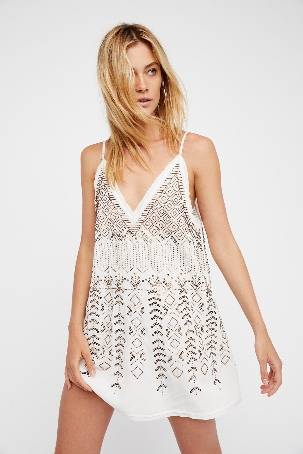 Arizona Nights Embellished Tunic Top - Ivory Free People Limited Edition Online Best For Sale GR29GQTJ