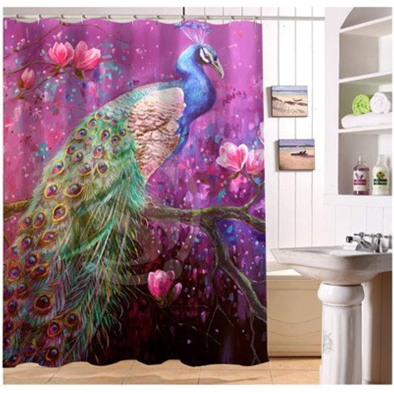 Custom Home Decor Creative Peacock Feathers Fabric Modern Shower