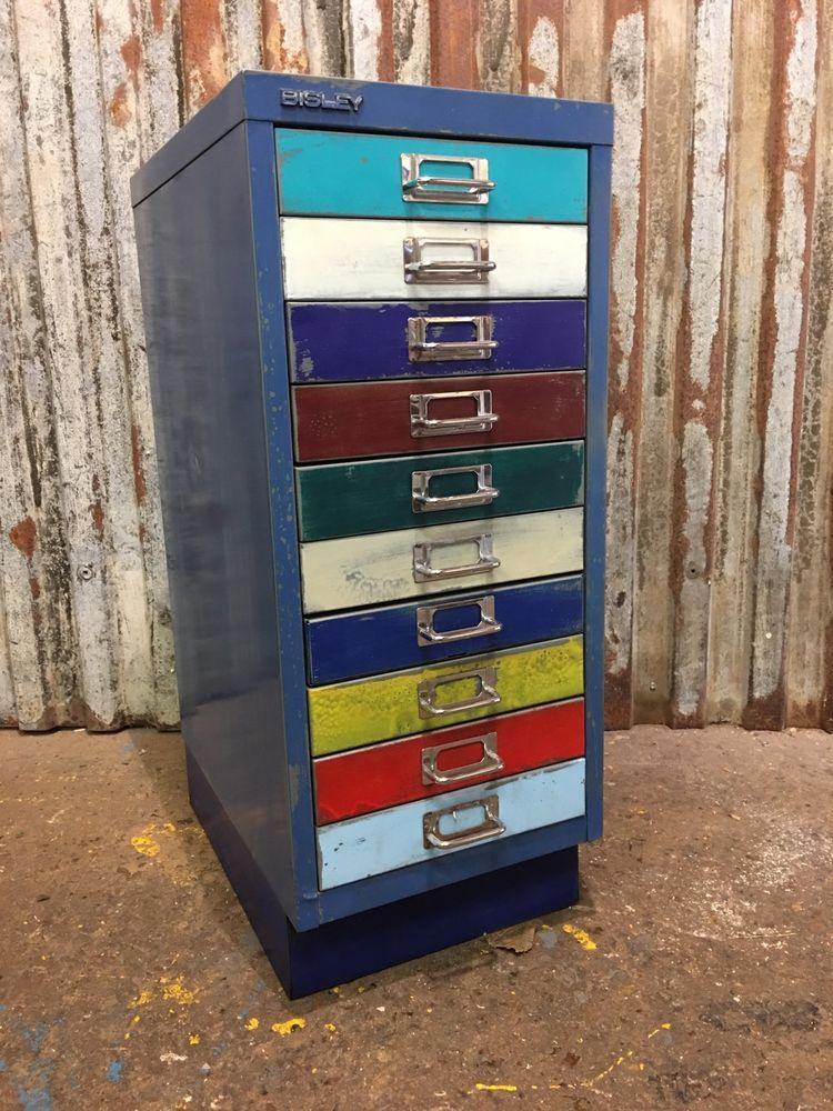 Metal Filing Drawers Vintage Cabinet Industrial Office ...