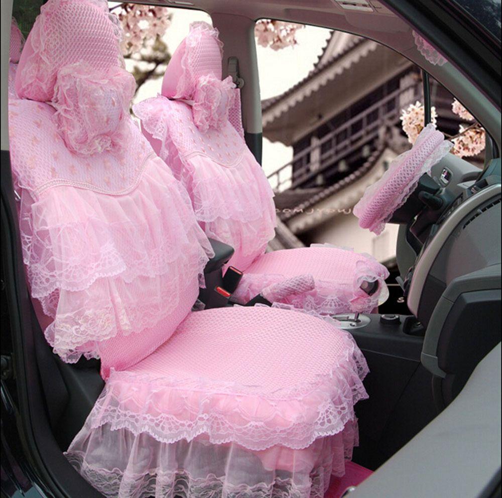 Ucuz 19 adet yeni rüya pembe sevimli karikatür araba koltuğu kapağı araba…