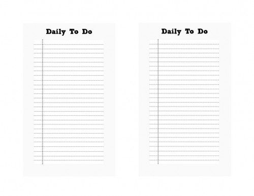 Free Filofax Printables: Daily To Do, Daily Routine