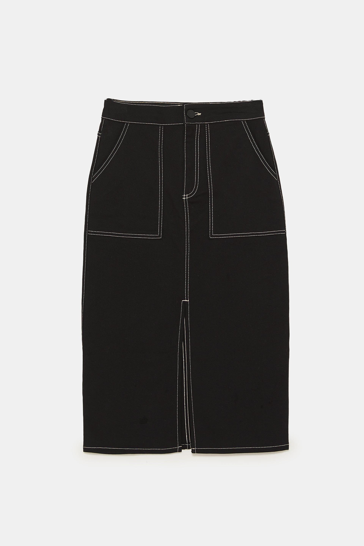 Skirts Zara Black Collection Contrast Asymmetric Skirt Small T