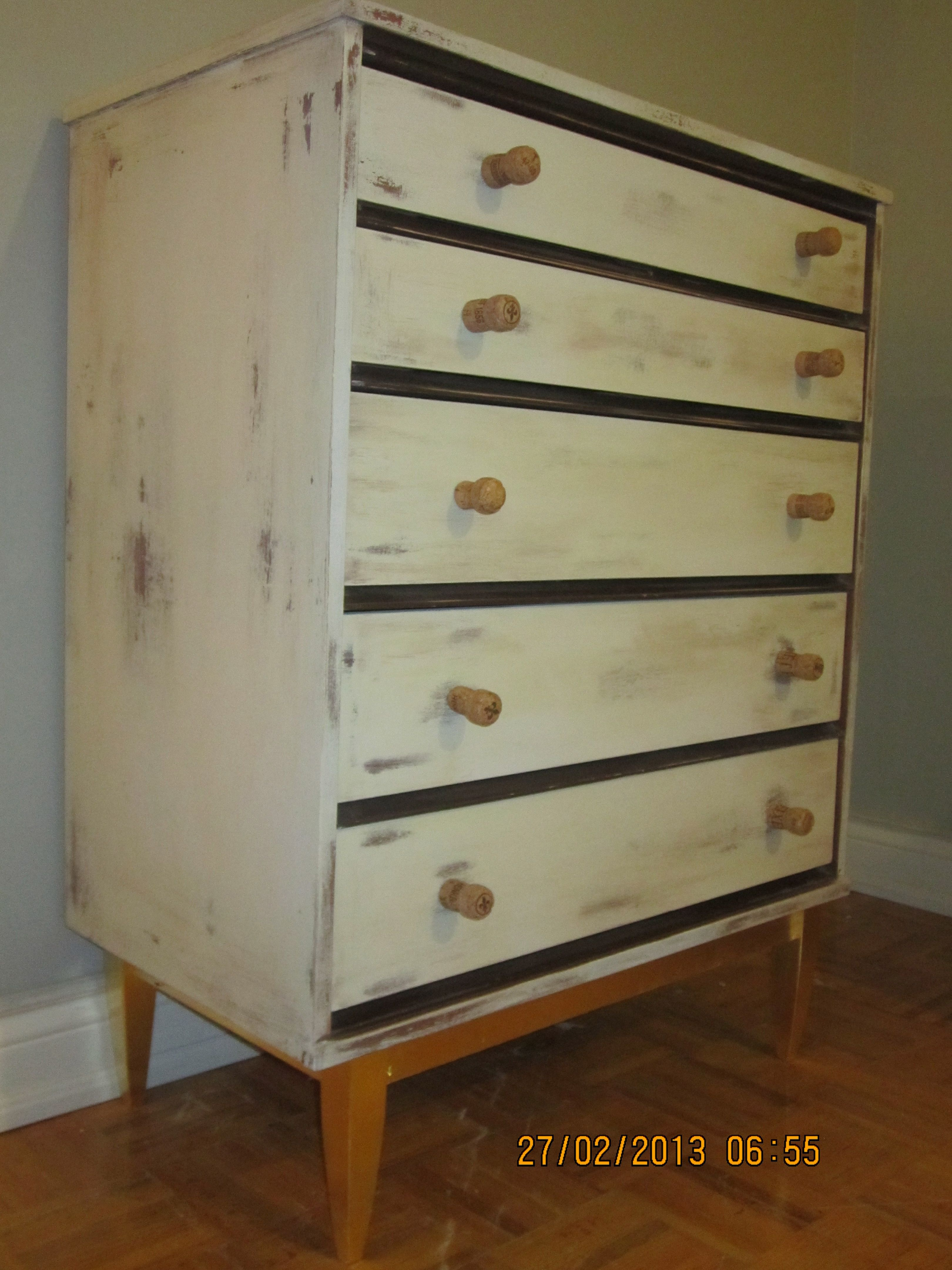 Rustic dresser with beautiful pure GOLD leaf at the base and the Champaign bottle accessories