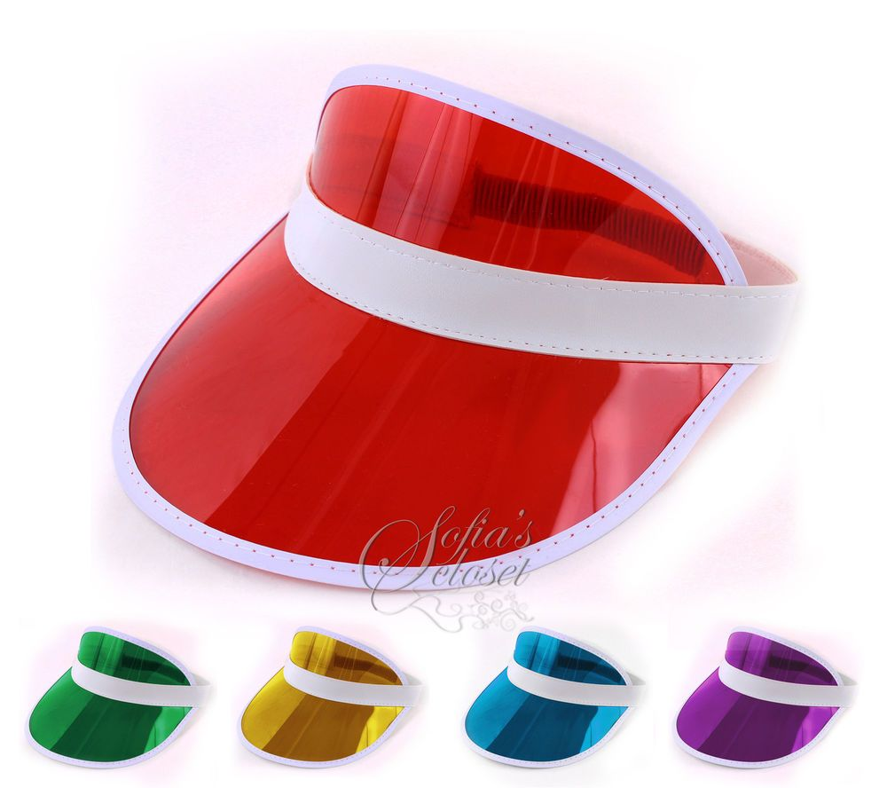 56982e7c Colour Clear Sun Visor Pub Golf Poker Rave Fun Fancy Dress Vegas Hat Cap  80's | eBay
