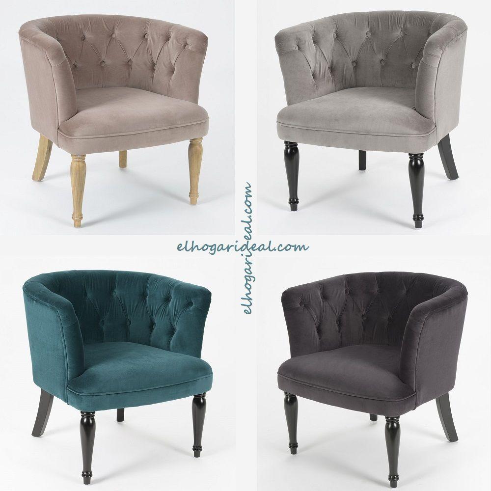 Madera y terciopelo sillones en color topo gris claro for Sillon gris