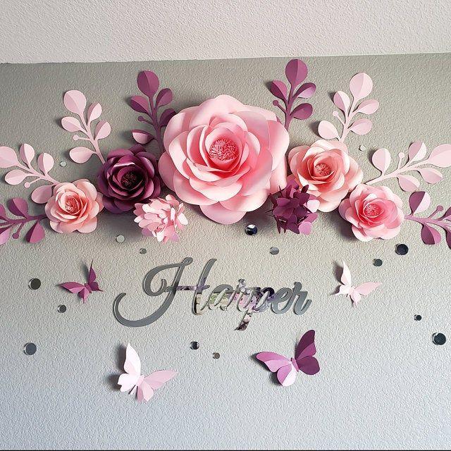 Set of 7 Nursery Paper Flowers Nursery Paper Flowers Wall | Etsy