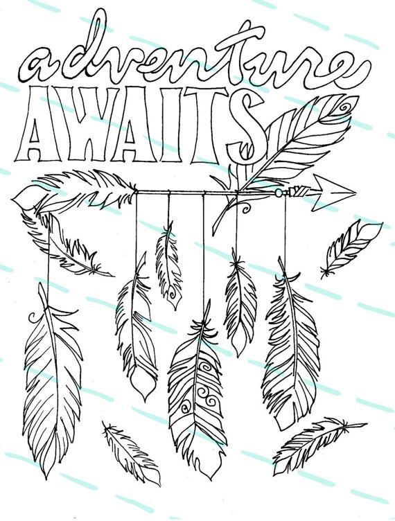 Adventure Awaits Feathers And Arrow Coloring Page For You