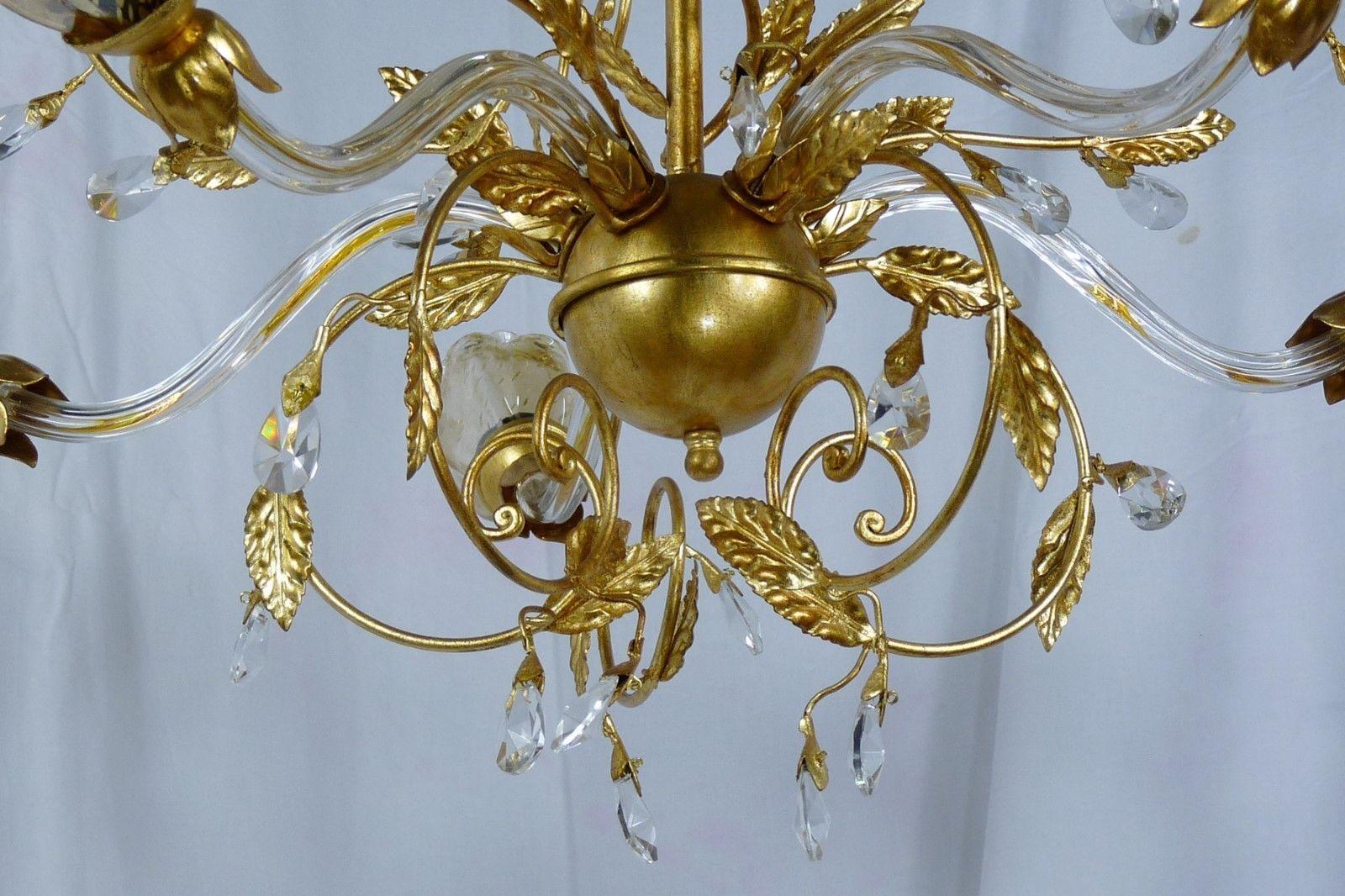 Classico lampadario lampada foglia oro 5 luci led vetri cristallo