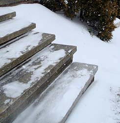 Sidewalk deicer- For icy steps and sidewalks in freezing temperatures, mix 1 teaspoon of Dawn dishwashing liquid, 1 tablespoon of rubbing alcohol, and 1/2 gallon hot/warm water and pour over walkways. They won't refreeze. No more salt eating at the concrete in your sidewalks