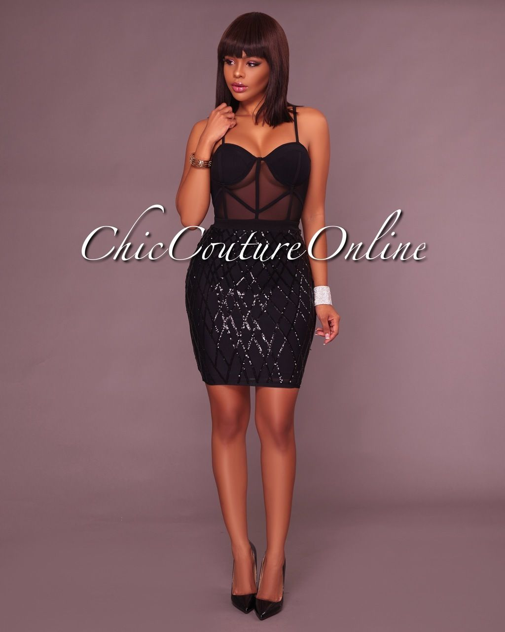Chic Couture Online - Gerry Black Sequin Mesh Dress, (http://www ...
