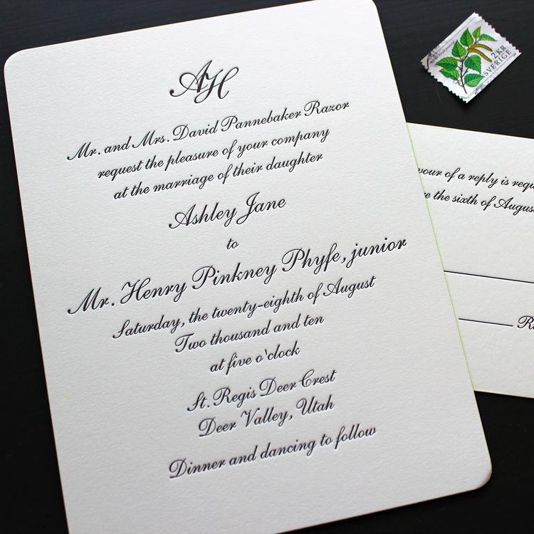 Traditional Script Letterpress Wedding Invitation | wedding ...