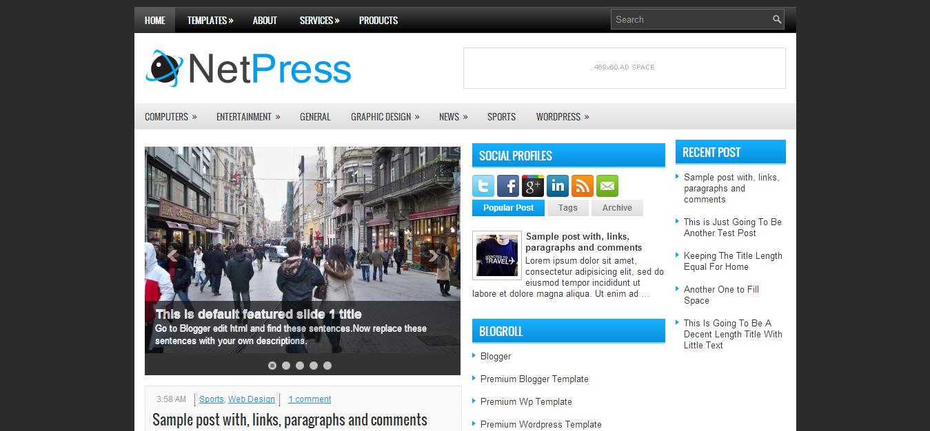 NetPress Blogger Template | Blogger Template | Pinterest