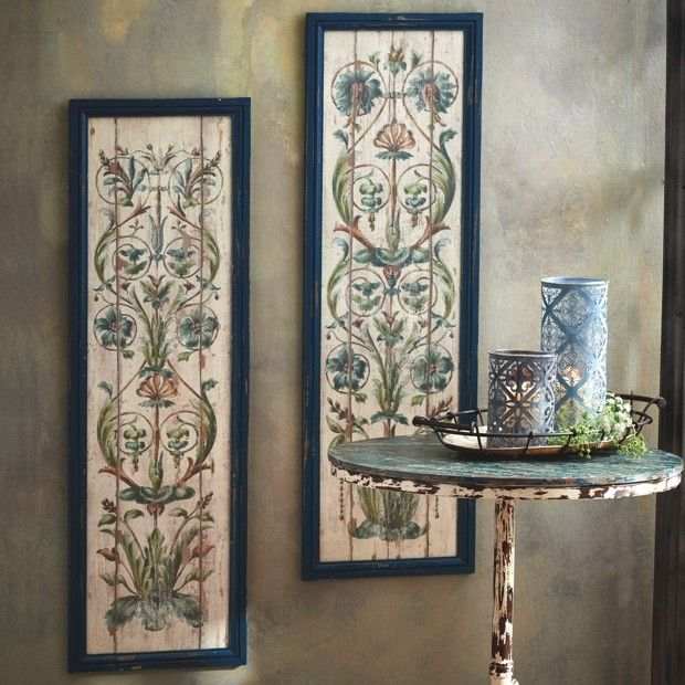 Framed Floral Scroll Wall Decor, Set of 2   Wall decor, Floral and Walls