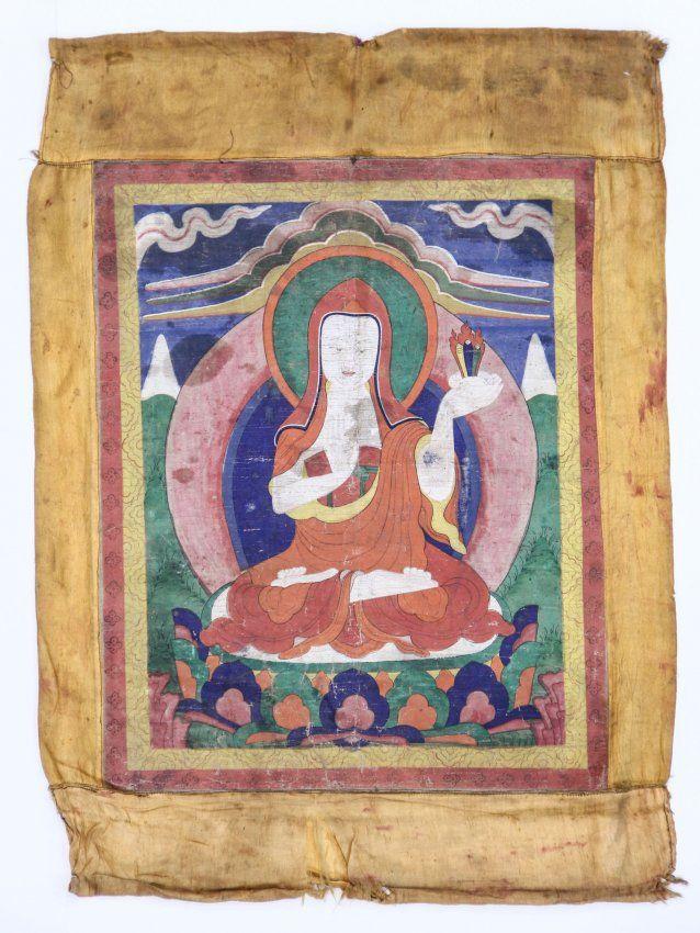 Tibetan thangka scroll painting of a Ningmapa lineage Lama holding ...