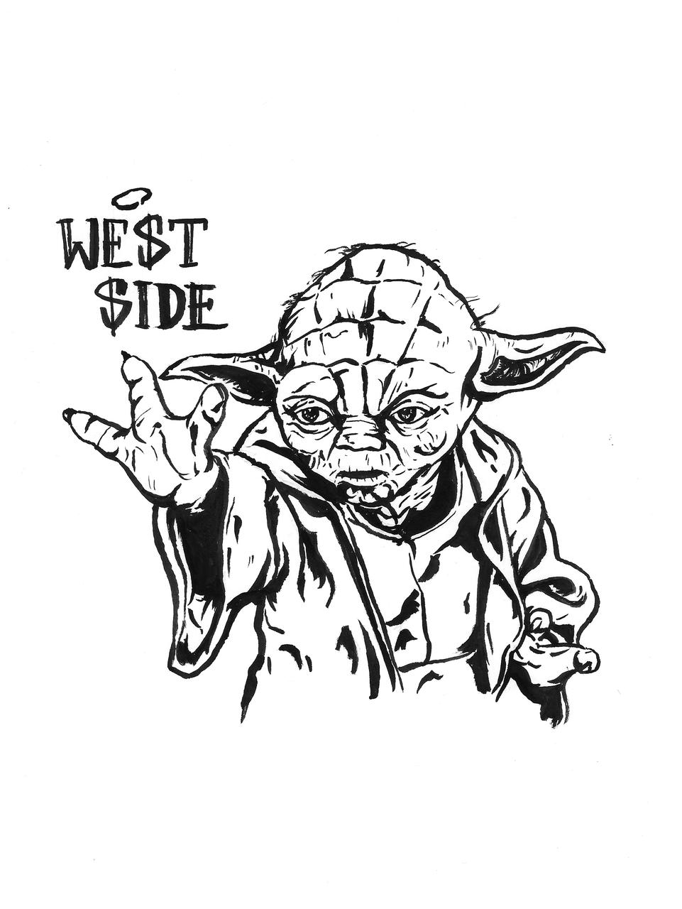 Illustration Yoda Black and white Star Wars