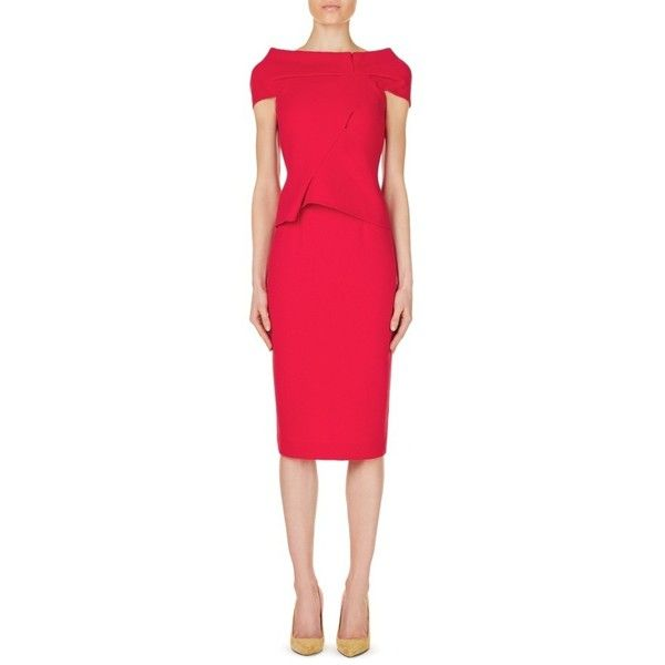 Balvern Designer Dress | Raspberry Wool | Roland Mouret Pre Fall 2016... ($2,295) ❤ liked on Polyvore featuring dresses, roland mouret, woolen dress, roland mouret dress, red wool dress and wool dress