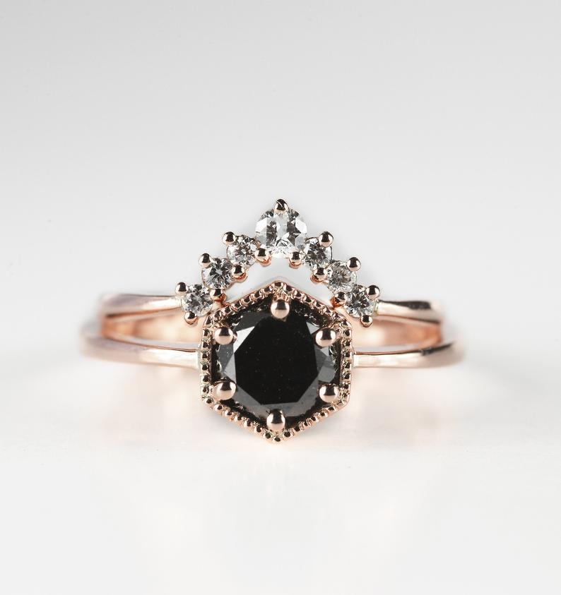 Schwarzer Diamant Verlobungsring 1ct Diamant | Etsy ...