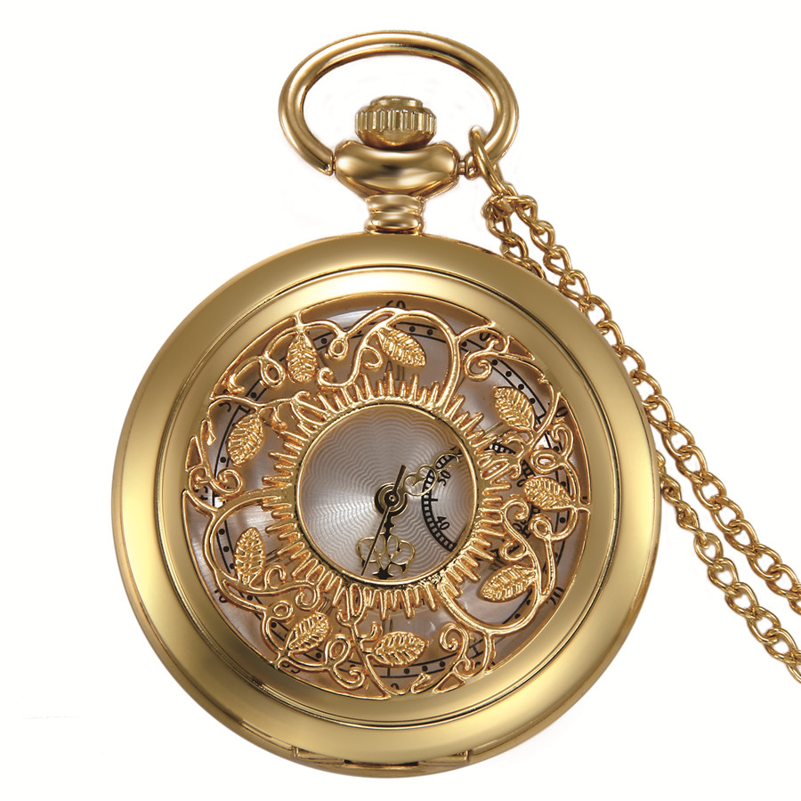 Lancardo Roman Numerals Gold Pocket Watch Hollow Leaf Tree Pocket Watches Unisex Luxury Brand Necklace Pendant Watc Gold Pocket Watch Pendant Watches Fob Watch