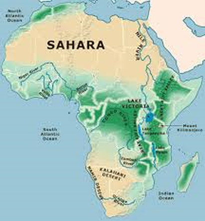 africa map showing physical features